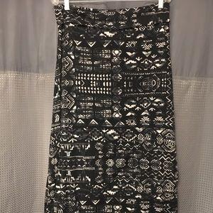 Distressed Aztec print maxi skirt